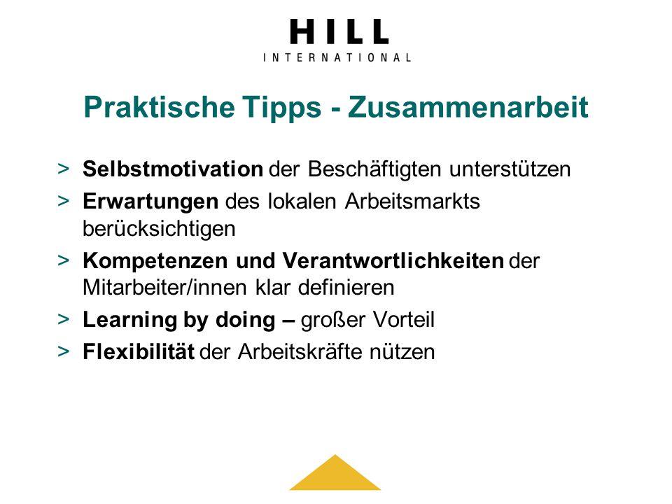 Praktische Tipps - Zusammenarbeit >Selbstmotivation der Beschäftigten unterstützen >Erwartungen des lokalen Arbeitsmarkts berücksichtigen >Kompetenzen