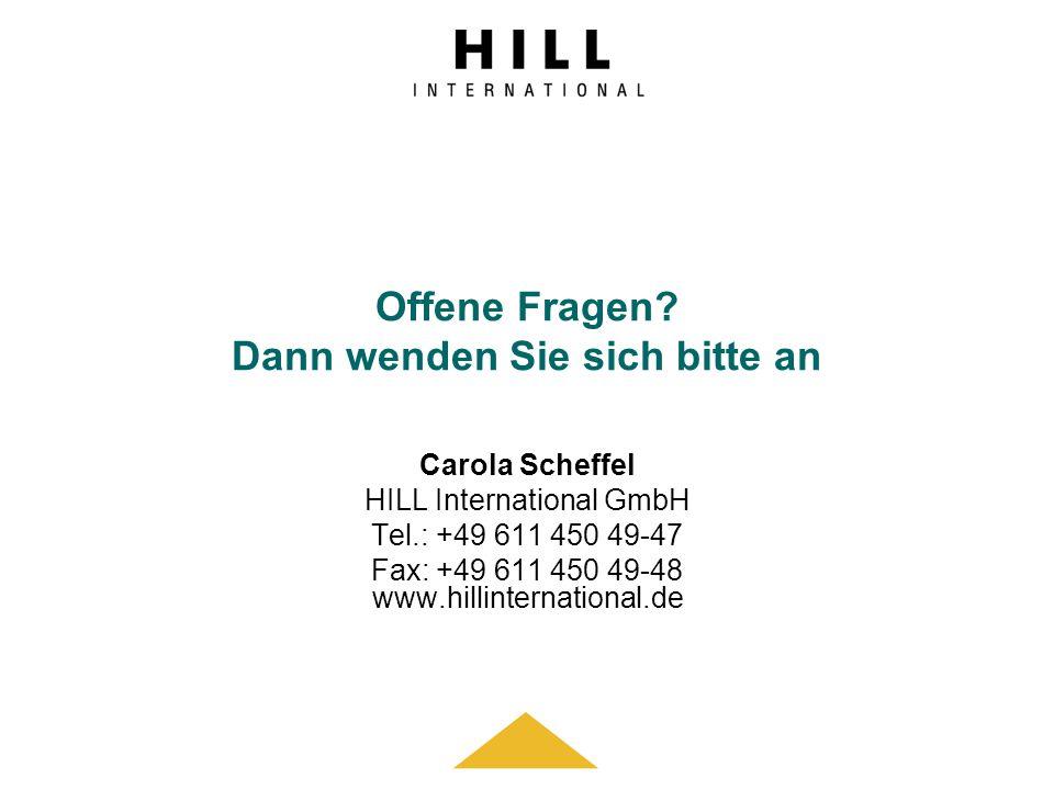 Offene Fragen? Dann wenden Sie sich bitte an Carola Scheffel HILL International GmbH Tel.: +49 611 450 49-47 Fax: +49 611 450 49-48 www.hillinternatio
