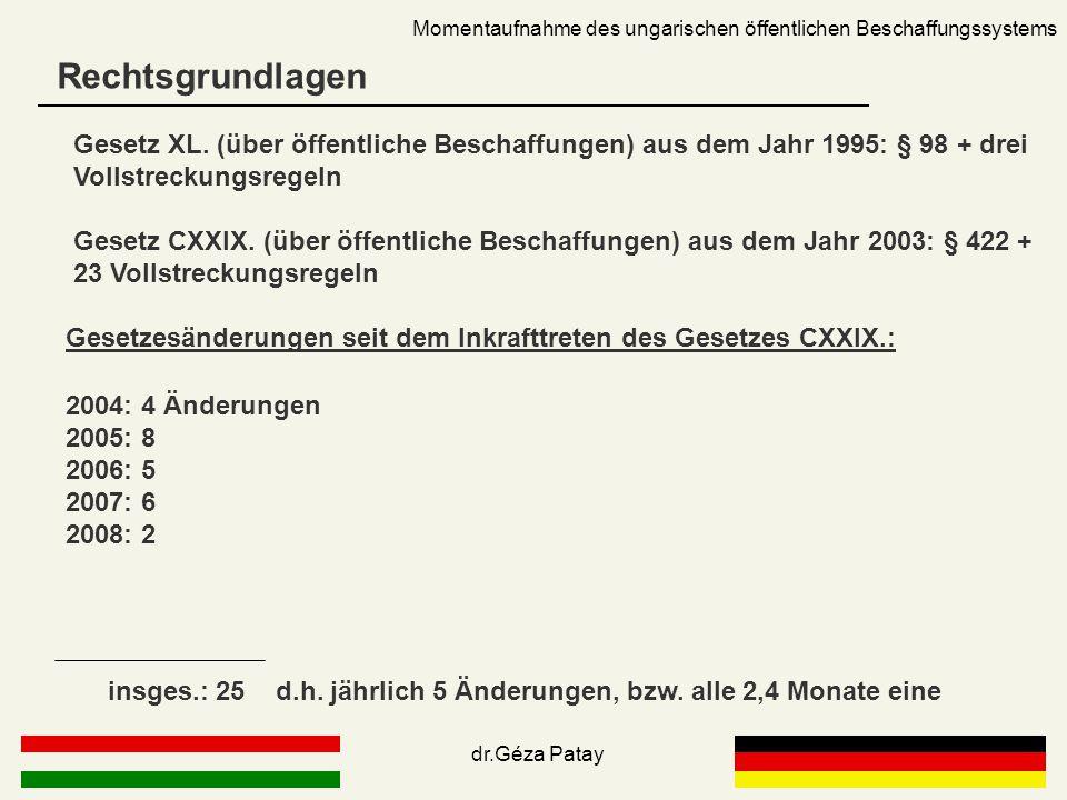Rechtsgrundlagen Momentaufnahme des ungarischen öffentlichen Beschaffungssystems Gesetz XL. (über öffentliche Beschaffungen) aus dem Jahr 1995: § 98 +