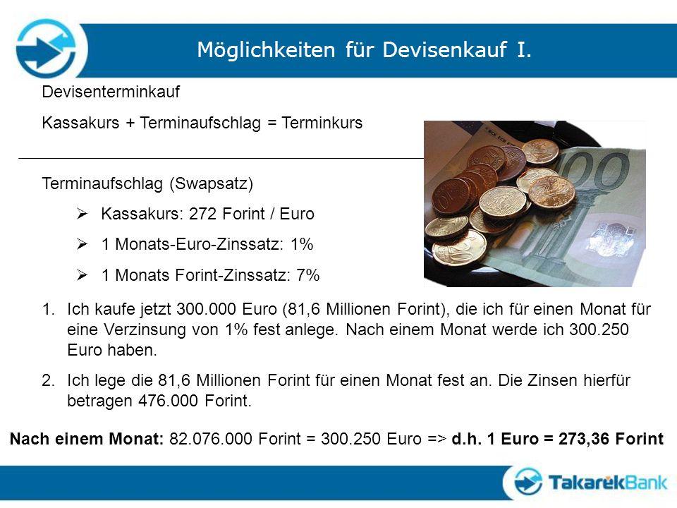 Möglichkeiten für Devisenkauf I. Devisenterminkauf Kassakurs + Terminaufschlag = Terminkurs Terminaufschlag (Swapsatz) Kassakurs: 272 Forint / Euro 1