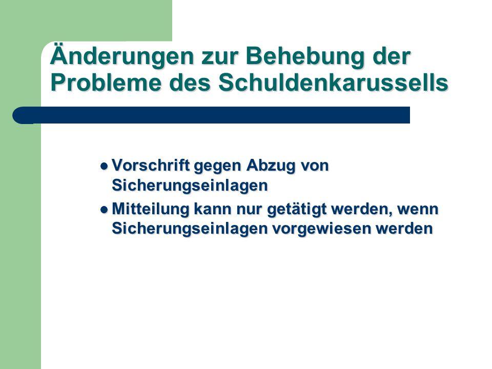 Änderungen zur Behebung der Probleme des Schuldenkarussells Vorschrift gegen Abzug von Sicherungseinlagen Vorschrift gegen Abzug von Sicherungseinlagen Mitteilung kann nur getätigt werden, wenn Sicherungseinlagen vorgewiesen werden Mitteilung kann nur getätigt werden, wenn Sicherungseinlagen vorgewiesen werden