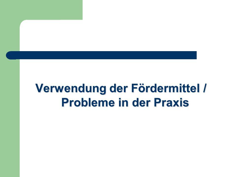 Verwendung der Fördermittel / Probleme in der Praxis