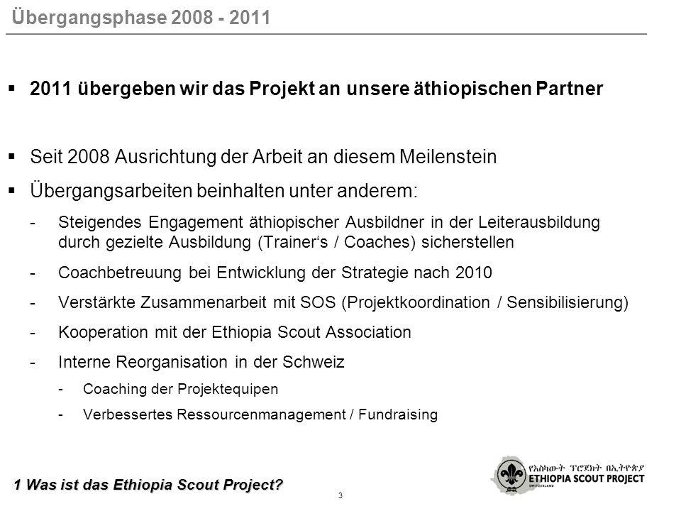 Übergangsphase 2008 - 2011 2011 übergeben wir das Projekt an unsere äthiopischen Partner Seit 2008 Ausrichtung der Arbeit an diesem Meilenstein Übergangsarbeiten beinhalten unter anderem: -Steigendes Engagement äthiopischer Ausbildner in der Leiterausbildung durch gezielte Ausbildung (Trainers / Coaches) sicherstellen -Coachbetreuung bei Entwicklung der Strategie nach 2010 -Verstärkte Zusammenarbeit mit SOS (Projektkoordination / Sensibilisierung) -Kooperation mit der Ethiopia Scout Association -Interne Reorganisation in der Schweiz -Coaching der Projektequipen -Verbessertes Ressourcenmanagement / Fundraising 3 1 Was ist das Ethiopia Scout Project