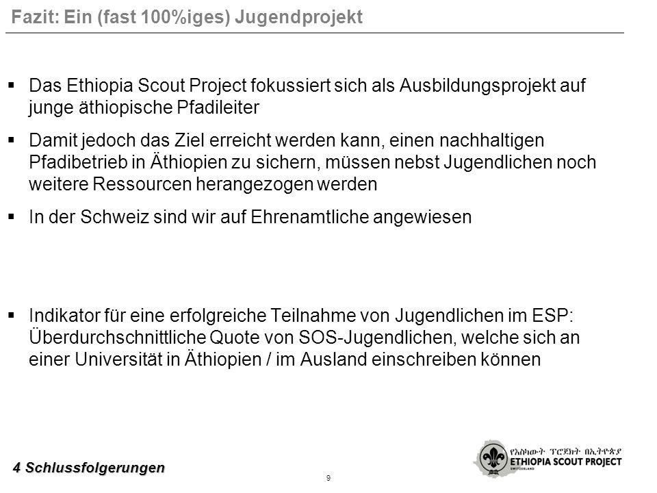 Fazit: Ein (fast 100%iges) Jugendprojekt Das Ethiopia Scout Project fokussiert sich als Ausbildungsprojekt auf junge äthiopische Pfadileiter Damit jedoch das Ziel erreicht werden kann, einen nachhaltigen Pfadibetrieb in Äthiopien zu sichern, müssen nebst Jugendlichen noch weitere Ressourcen herangezogen werden In der Schweiz sind wir auf Ehrenamtliche angewiesen Indikator für eine erfolgreiche Teilnahme von Jugendlichen im ESP: Überdurchschnittliche Quote von SOS-Jugendlichen, welche sich an einer Universität in Äthiopien / im Ausland einschreiben können 9 4 Schlussfolgerungen
