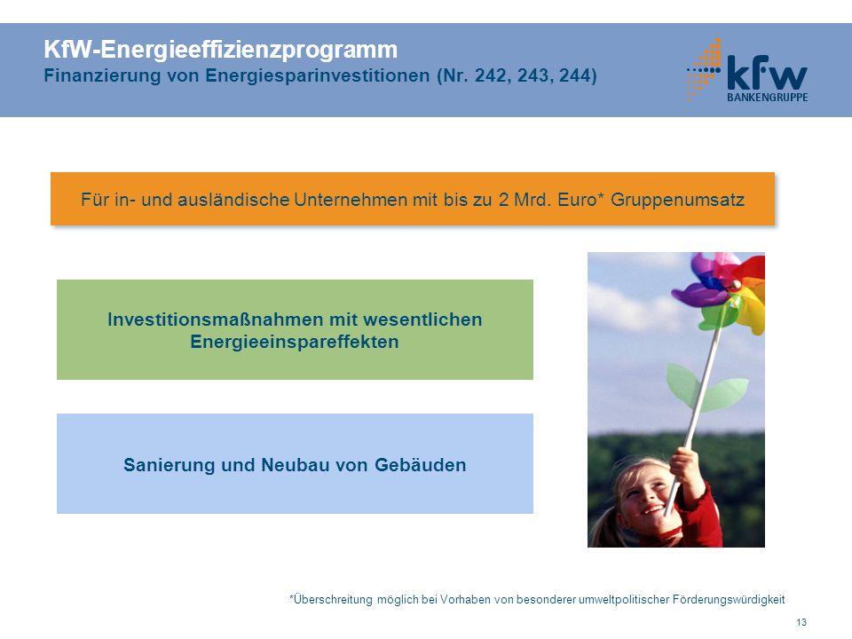 13 KfW-Energieeffizienzprogramm Finanzierung von Energiesparinvestitionen (Nr. 242, 243, 244) Investitionsmaßnahmen mit wesentlichen Energieeinspareff