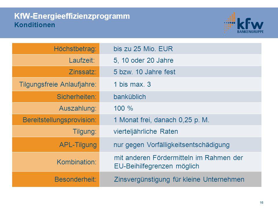 16 KfW-Energieeffizienzprogramm Konditionen 16 Höchstbetrag:bis zu 25 Mio. EUR Laufzeit:5, 10 oder 20 Jahre Zinssatz:5 bzw. 10 Jahre fest Tilgungsfrei