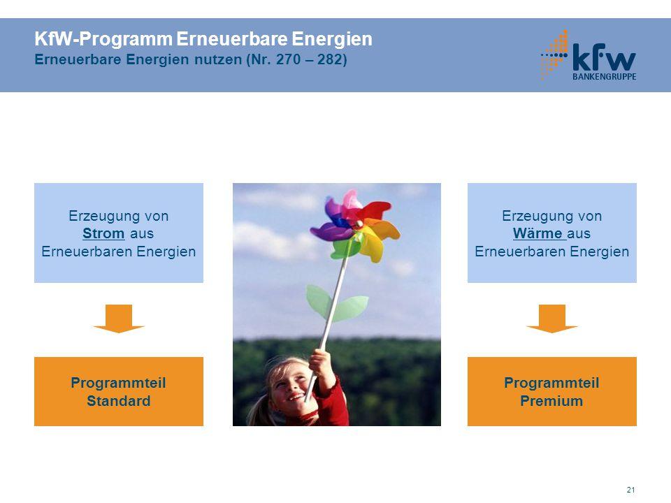 21 KfW-Programm Erneuerbare Energien Erneuerbare Energien nutzen (Nr. 270 – 282) Erzeugung von Strom aus Erneuerbaren Energien Erzeugung von Wärme aus
