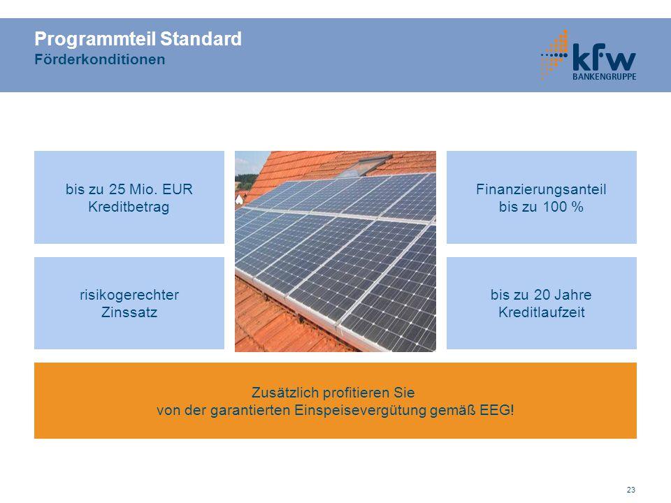 23 Programmteil Standard Förderkonditionen risikogerechter Zinssatz bis zu 25 Mio. EUR Kreditbetrag Finanzierungsanteil bis zu 100 % bis zu 20 Jahre K
