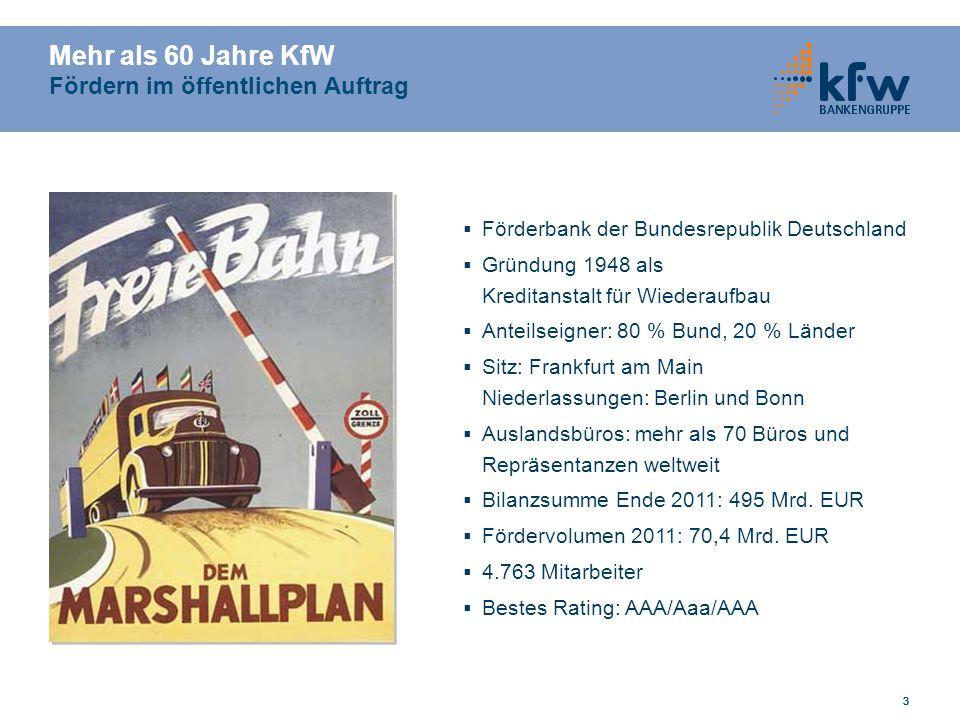 333 Mehr als 60 Jahre KfW Fördern im öffentlichen Auftrag Förderbank der Bundesrepublik Deutschland Gründung 1948 als Kreditanstalt für Wiederaufbau A