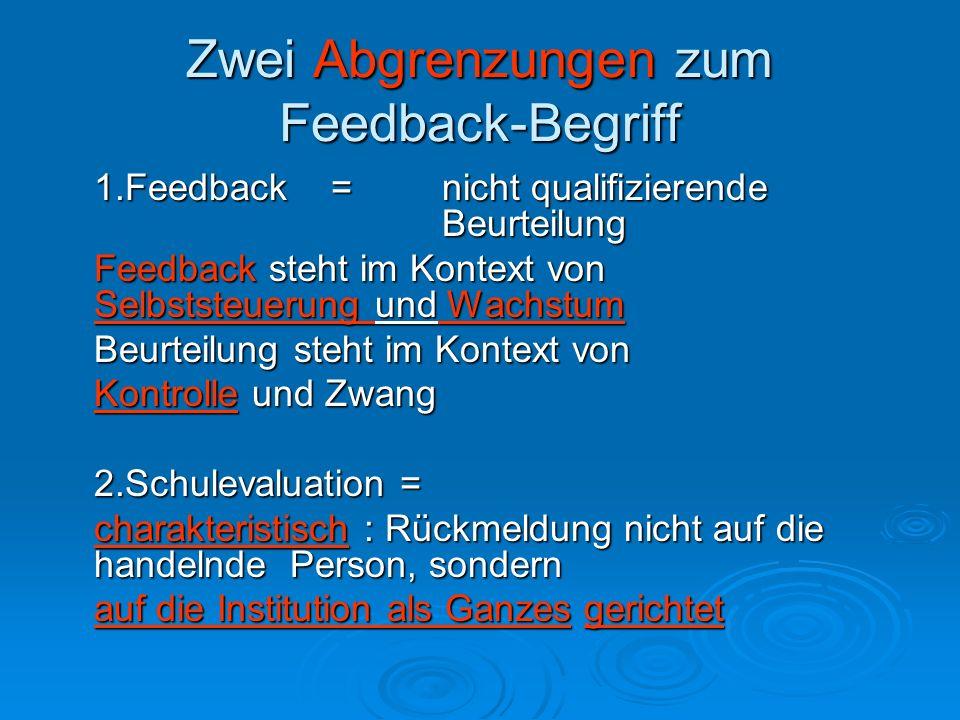 Zwei Abgrenzungen zum Feedback-Begriff 1.Feedback =nicht qualifizierende Beurteilung Feedback steht im Kontext von Selbststeuerung und Wachstum Beurte