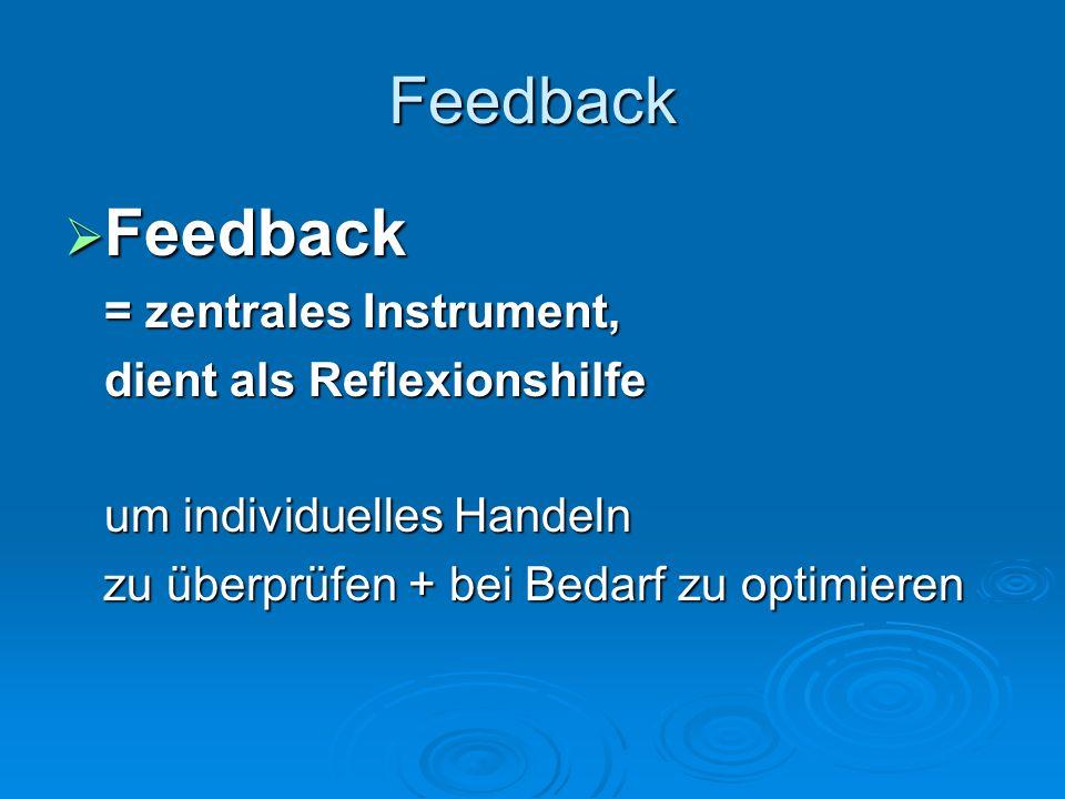 Feedback Feedback Feedback = zentrales Instrument, dient als Reflexionshilfe um individuelles Handeln zu überprüfen + bei Bedarf zu optimieren zu über