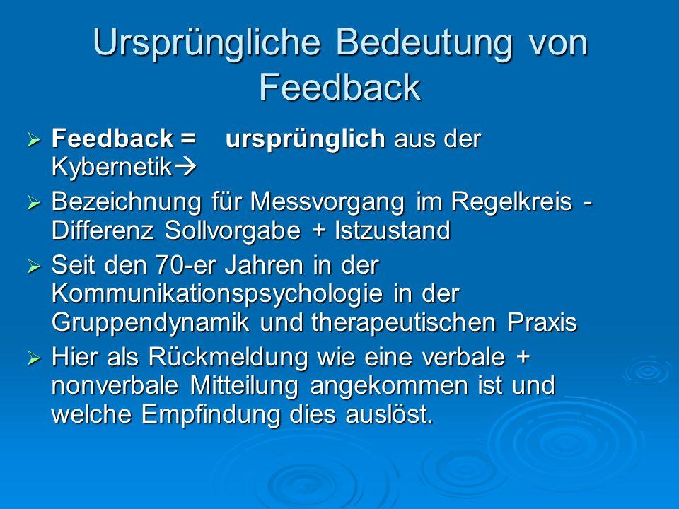 Ursprüngliche Bedeutung von Feedback Feedback = ursprünglich aus der Kybernetik Feedback = ursprünglich aus der Kybernetik Bezeichnung für Messvorgang