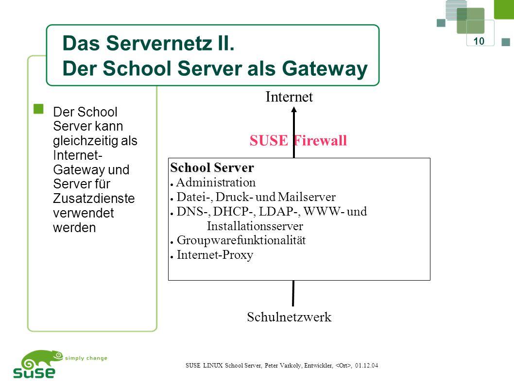 10 SUSE LINUX School Server, Peter Varkoly, Entwickler,, 01.12.04 Das Servernetz II.