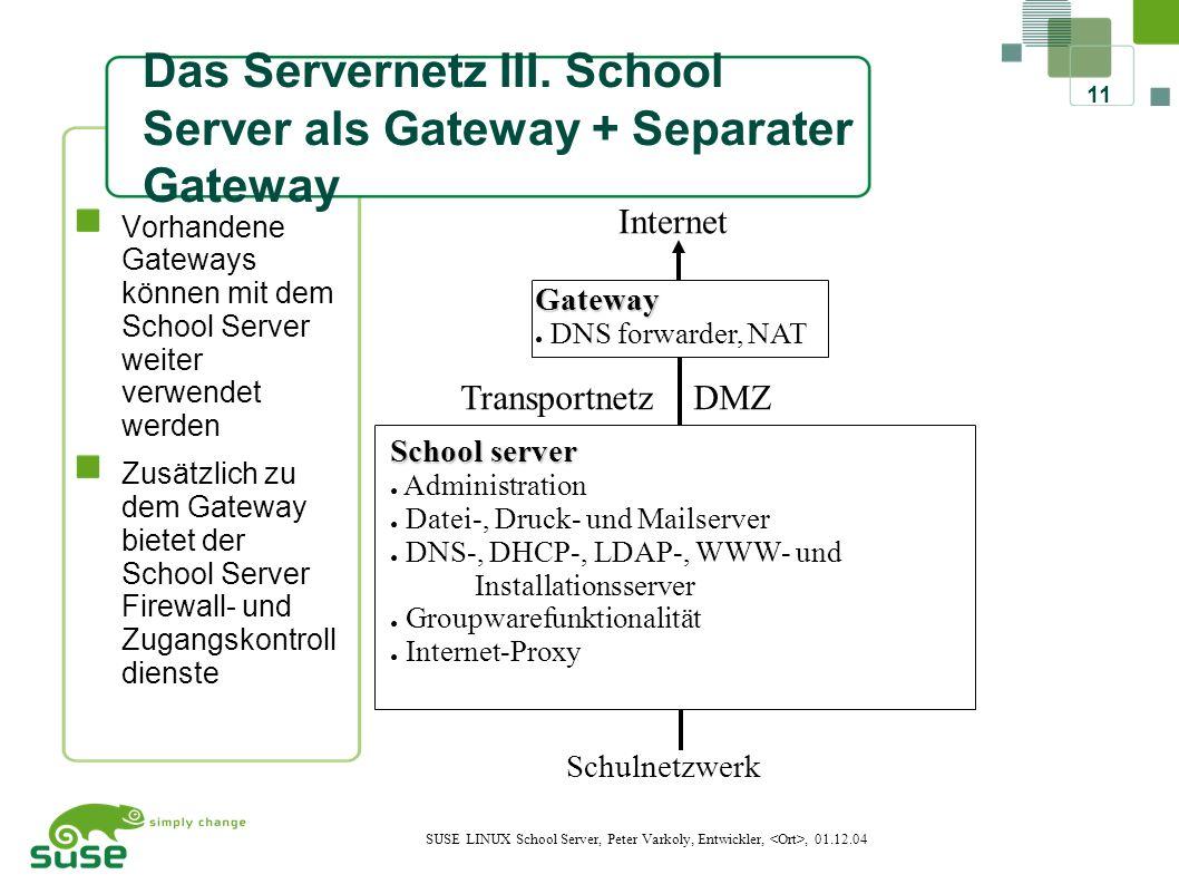 11 SUSE LINUX School Server, Peter Varkoly, Entwickler,, 01.12.04 Transportnetz DMZ Das Servernetz III.