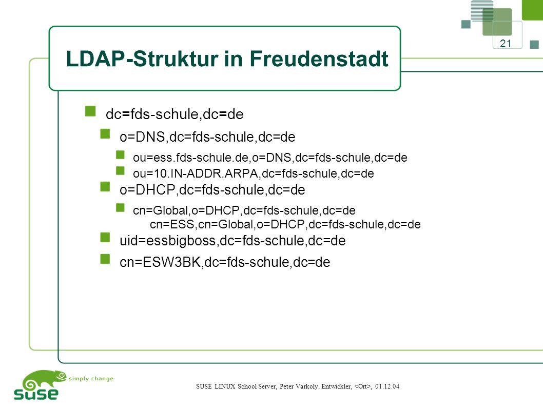 21 SUSE LINUX School Server, Peter Varkoly, Entwickler,, 01.12.04 LDAP-Struktur in Freudenstadt dc=fds-schule,dc=de o=DNS,dc=fds-schule,dc=de ou=ess.fds-schule.de,o=DNS,dc=fds-schule,dc=de ou=10.IN-ADDR.ARPA,dc=fds-schule,dc=de o=DHCP,dc=fds-schule,dc=de cn=Global,o=DHCP,dc=fds-schule,dc=de cn=ESS,cn=Global,o=DHCP,dc=fds-schule,dc=de uid=essbigboss,dc=fds-schule,dc=de cn=ESW3BK,dc=fds-schule,dc=de