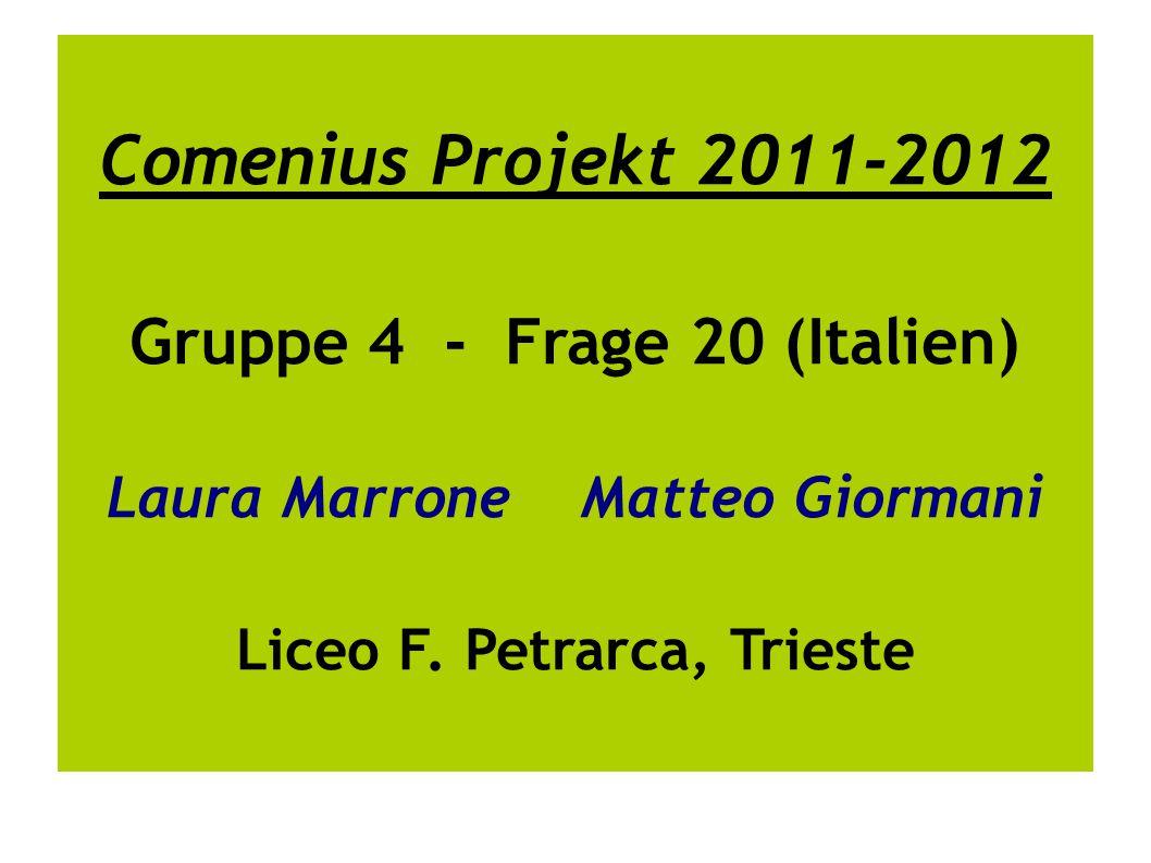 Comenius Projekt 2011-2012 Gruppe 4 - Frage 20 (Italien) Laura Marrone Matteo Giormani Liceo F.