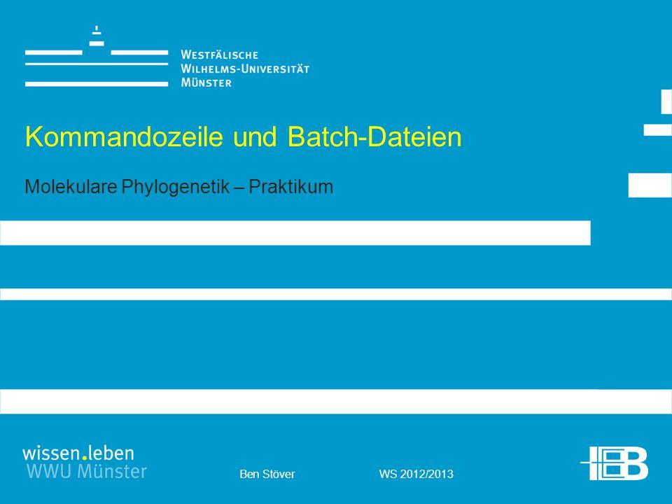 Ben Stöver WS 2012/2013 Kommandozeile und Batch-Dateien Molekulare Phylogenetik – Praktikum