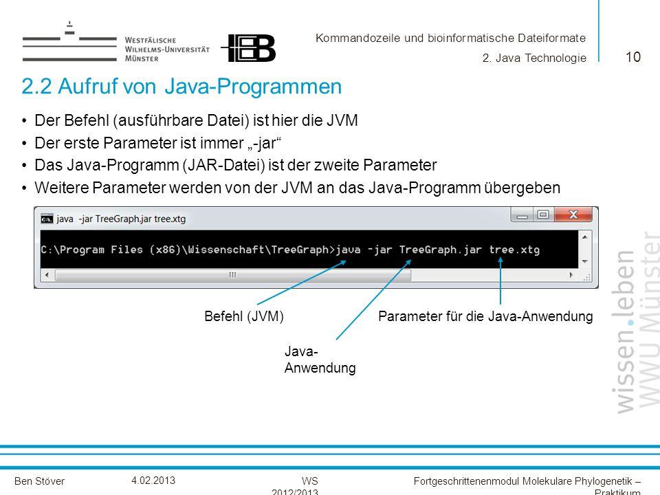 Kommandozeile und bioinformatische Dateiformate Ben StöverFortgeschrittenenmodul Molekulare Phylogenetik – Praktikum WS 2012/2013 4.02.2013 2.2 Aufruf