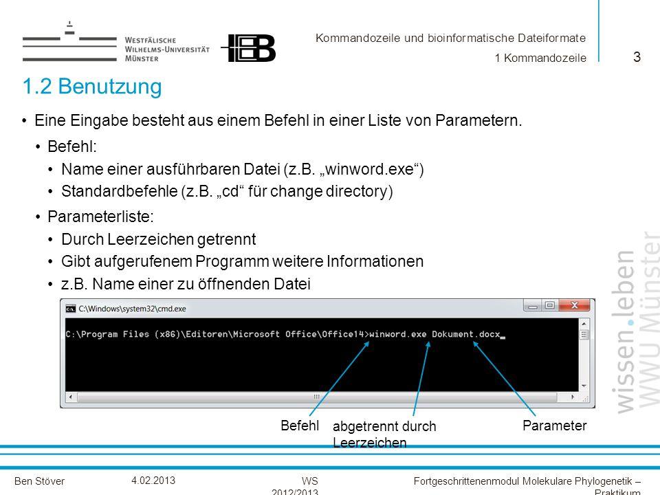 Kommandozeile und bioinformatische Dateiformate Ben StöverFortgeschrittenenmodul Molekulare Phylogenetik – Praktikum WS 2012/2013 4.02.2013 1.2 Benutzung 3 1 Kommandozeile Eine Eingabe besteht aus einem Befehl in einer Liste von Parametern.