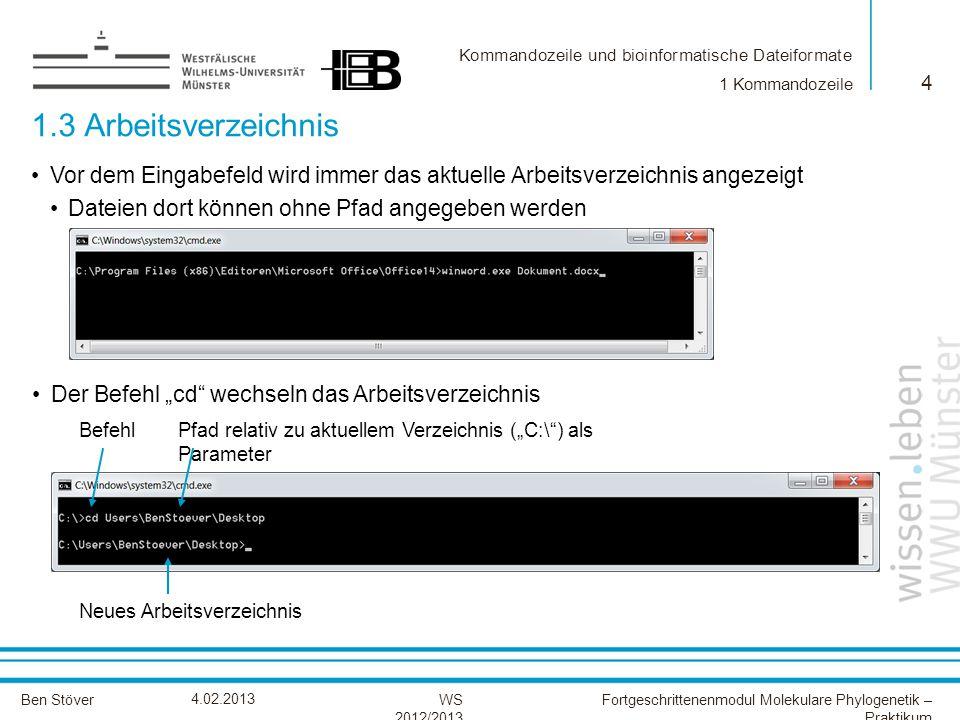 Kommandozeile und bioinformatische Dateiformate Ben StöverFortgeschrittenenmodul Molekulare Phylogenetik – Praktikum WS 2012/2013 4.02.2013 1.3 Arbeit