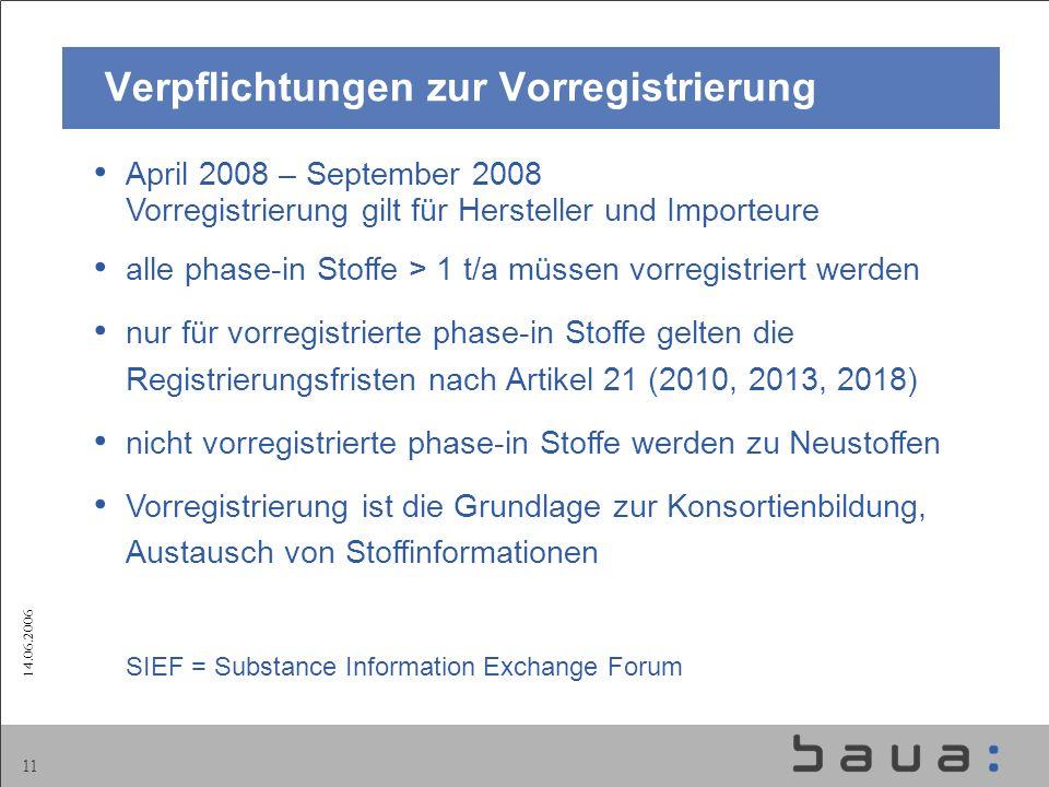 14.06.2006 11 April 2008 – September 2008 Vorregistrierung gilt für Hersteller und Importeure alle phase-in Stoffe > 1 t/a müssen vorregistriert werde