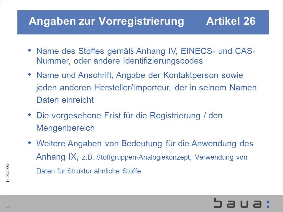 14.06.2006 12 Name des Stoffes gemäß Anhang IV, EINECS- und CAS- Nummer, oder andere Identifizierungscodes Name und Anschrift, Angabe der Kontaktperso