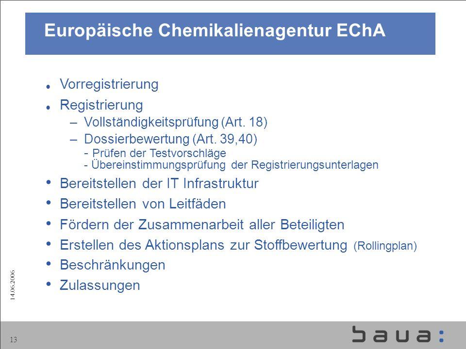 14.06.2006 13 Vorregistrierung Registrierung –Vollständigkeitsprüfung (Art. 18) –Dossierbewertung (Art. 39,40) - Prüfen der Testvorschläge - Übereinst