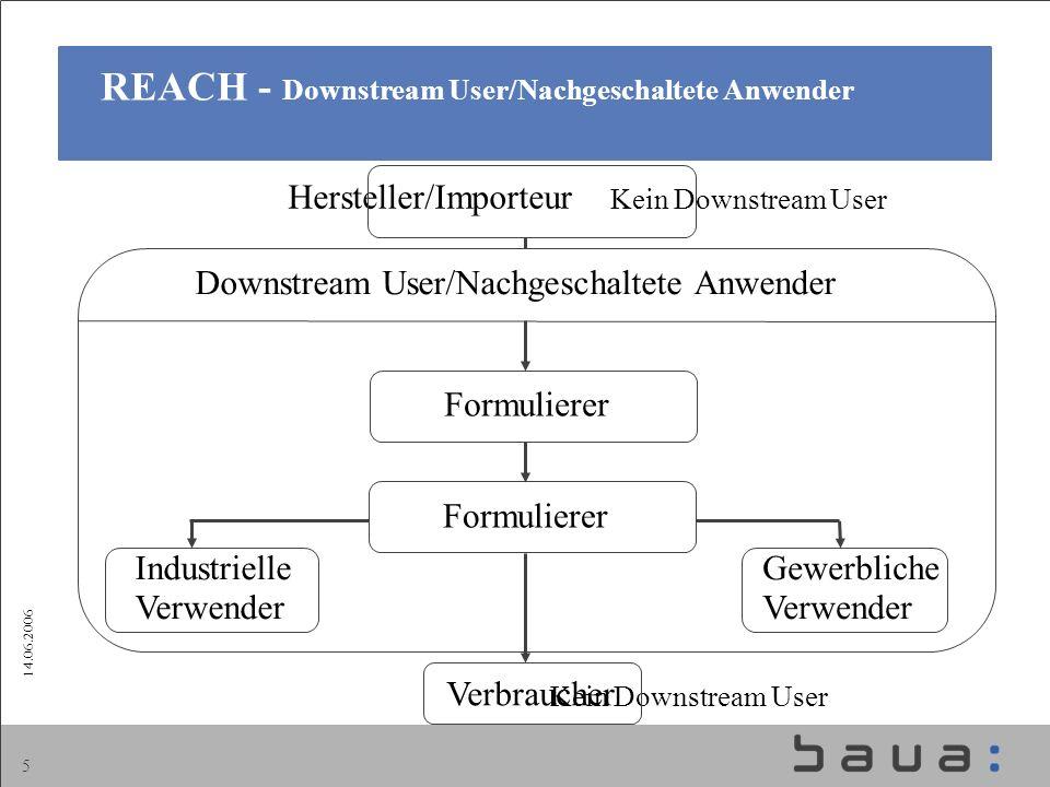 14.06.2006 5 REACH - Downstream User/Nachgeschaltete Anwender Hersteller/Importeur Kein Downstream User Kein Downstream User Formulierer Verbraucher D