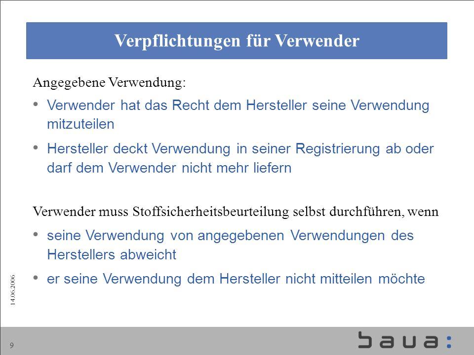 14.06.2006 9 Verpflichtungen für Verwender Angegebene Verwendung: Verwender hat das Recht dem Hersteller seine Verwendung mitzuteilen Hersteller deckt