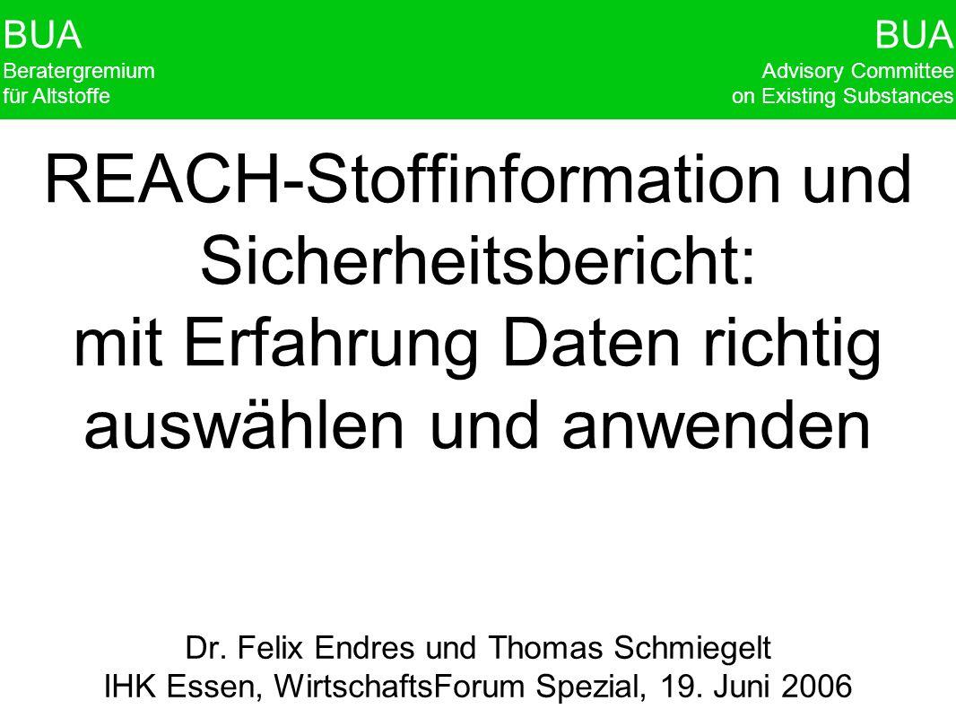 BUA Beratergremium für Altstoffe BUA Advisory Committee on Existing Substances REACH-Stoffinformation und Sicherheitsbericht: mit Erfahrung Daten rich