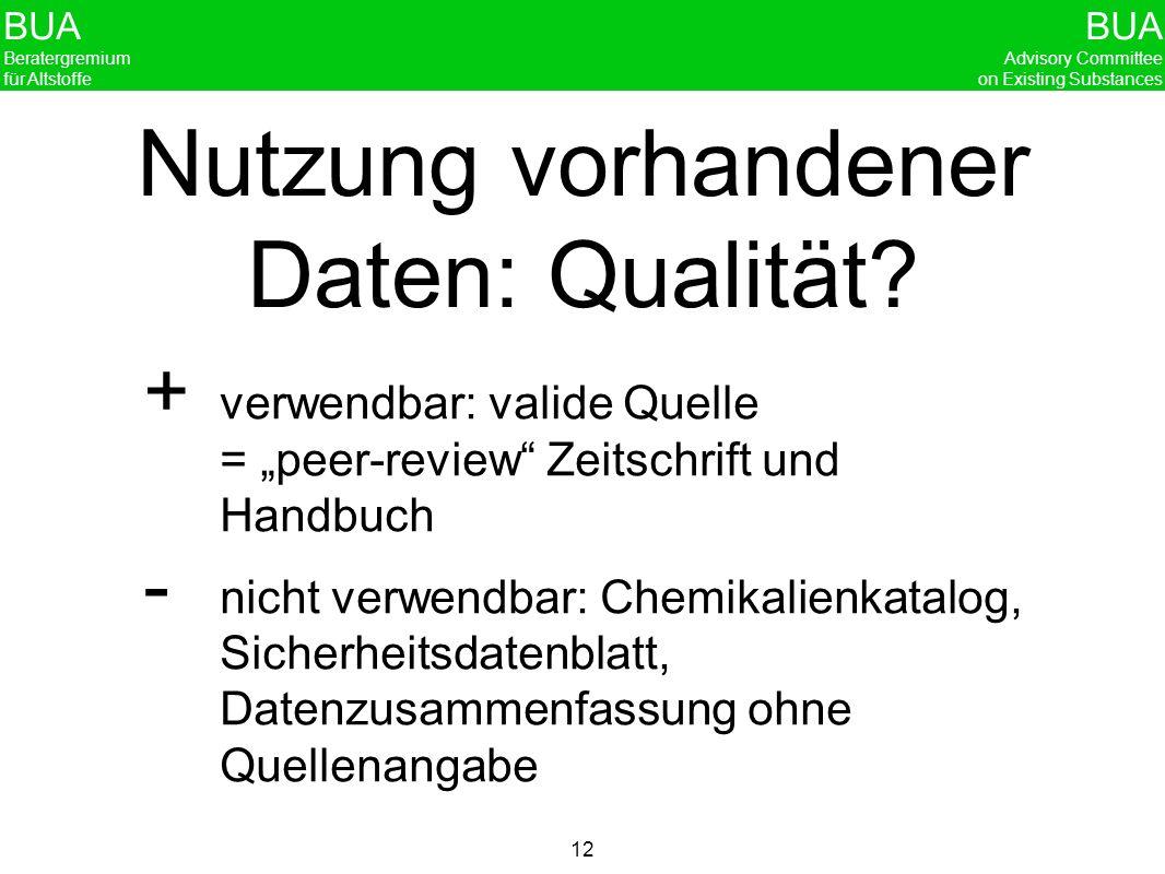 BUA Beratergremium für Altstoffe BUA Advisory Committee on Existing Substances 12 Nutzung vorhandener Daten: Qualität? verwendbar: valide Quelle = pee