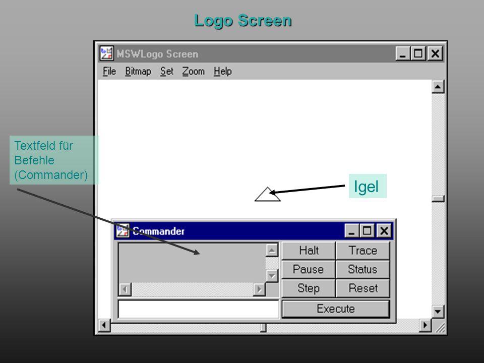 Logo Screen Igel Textfeld für Befehle (Commander)