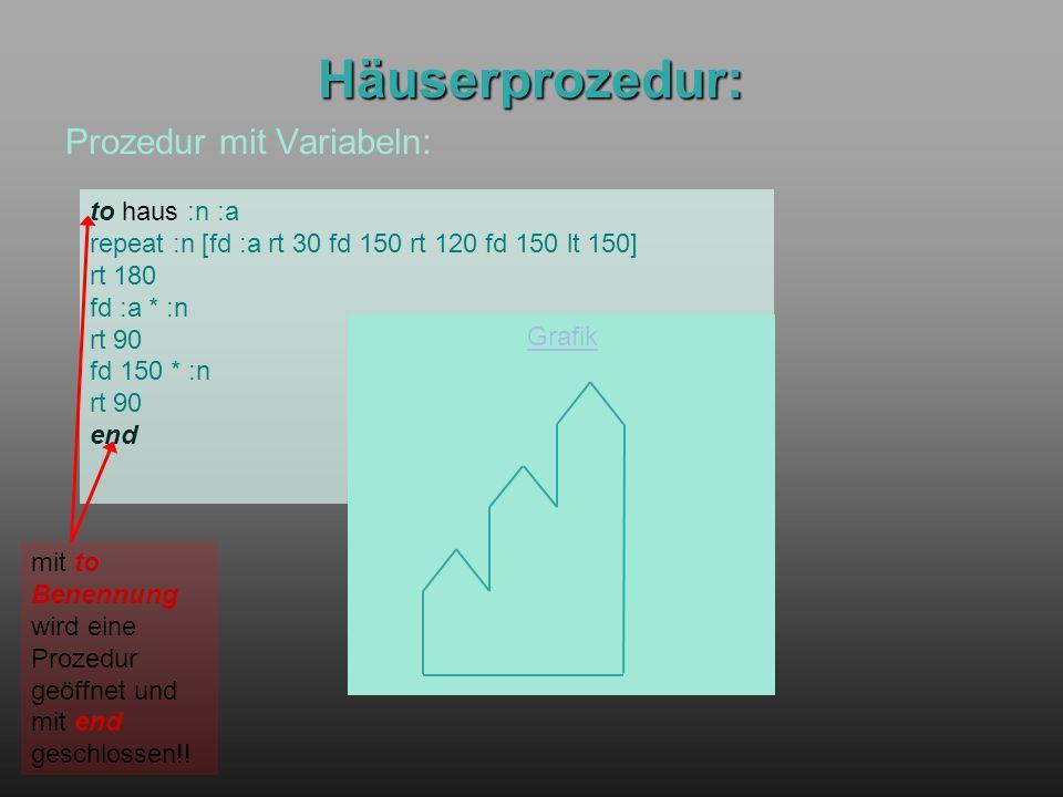 Häuserprozedur: Prozedur mit Variabeln: to haus :n :a repeat :n [fd :a rt 30 fd 150 rt 120 fd 150 lt 150] rt 180 fd :a * :n rt 90 fd 150 * :n rt 90 en