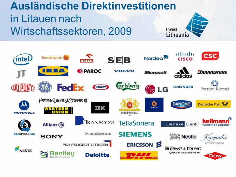 Ausländische Direktinvestitionen in Litauen nach Wirtschaftssektoren, 2009