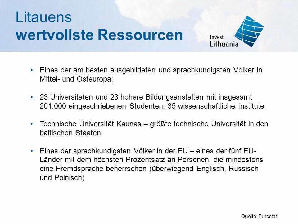 Litauens wertvollste Ressourcen Eines der am besten ausgebildeten und sprachkundigsten Völker in Mittel- und Osteuropa; 23 Universitäten und 23 höhere