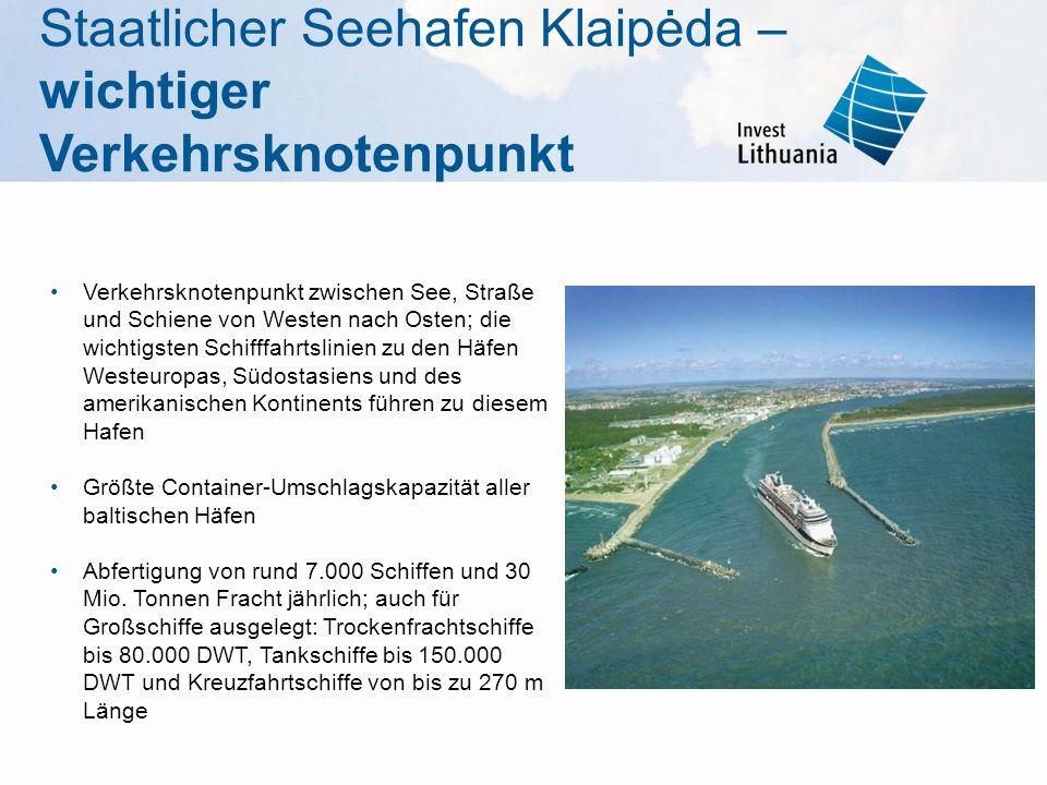 Verkehrsknotenpunkt zwischen See, Straße und Schiene von Westen nach Osten; die wichtigsten Schifffahrtslinien zu den Häfen Westeuropas, Südostasiens