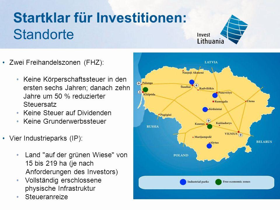 Zwei Freihandelszonen (FHZ): Keine Körperschaftssteuer in den ersten sechs Jahren; danach zehn Jahre um 50 % reduzierter Steuersatz Keine Steuer auf Dividenden Keine Grunderwerbssteuer Vier Industrieparks (IP): Land auf der grünen Wiese von 15 bis 219 ha (je nach Anforderungen des Investors) Vollständig erschlossene physische Infrastruktur Steueranreize Startklar für Investitionen: Standorte