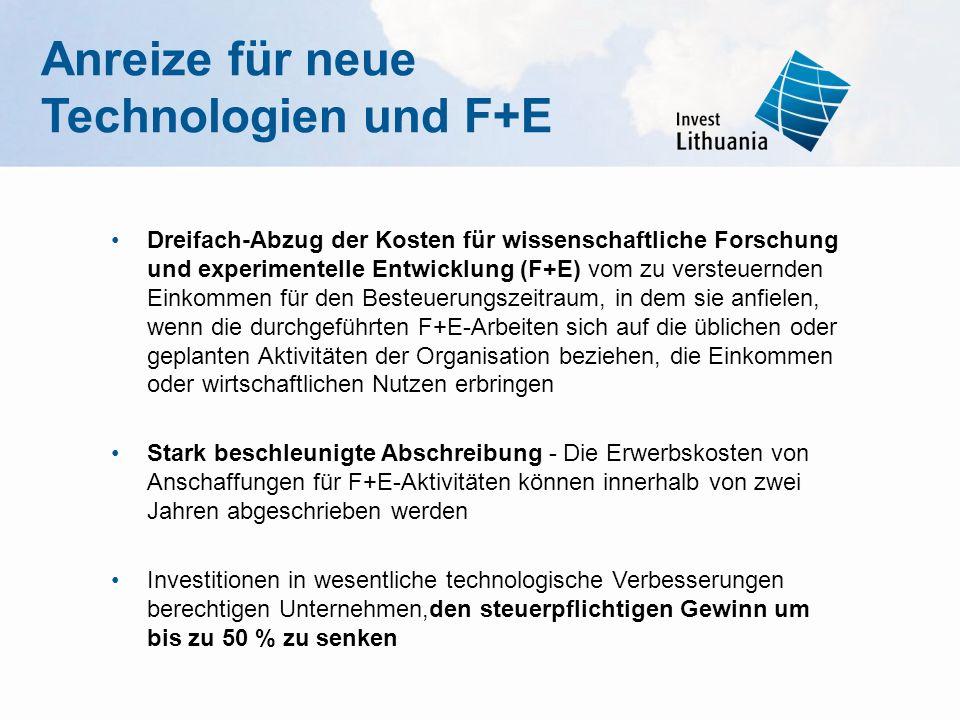 Anreize für neue Technologien und F+E Dreifach-Abzug der Kosten für wissenschaftliche Forschung und experimentelle Entwicklung (F+E) vom zu versteuern
