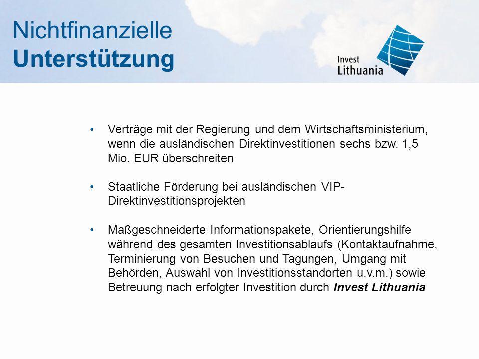 Verträge mit der Regierung und dem Wirtschaftsministerium, wenn die ausländischen Direktinvestitionen sechs bzw. 1,5 Mio. EUR überschreiten Staatliche