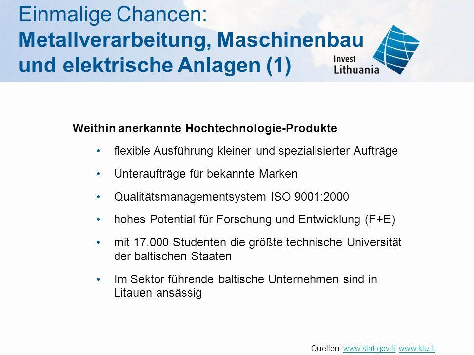 Einmalige Chancen: Metallverarbeitung, Maschinenbau und elektrische Anlagen (1) Weithin anerkannte Hochtechnologie-Produkte flexible Ausführung kleine