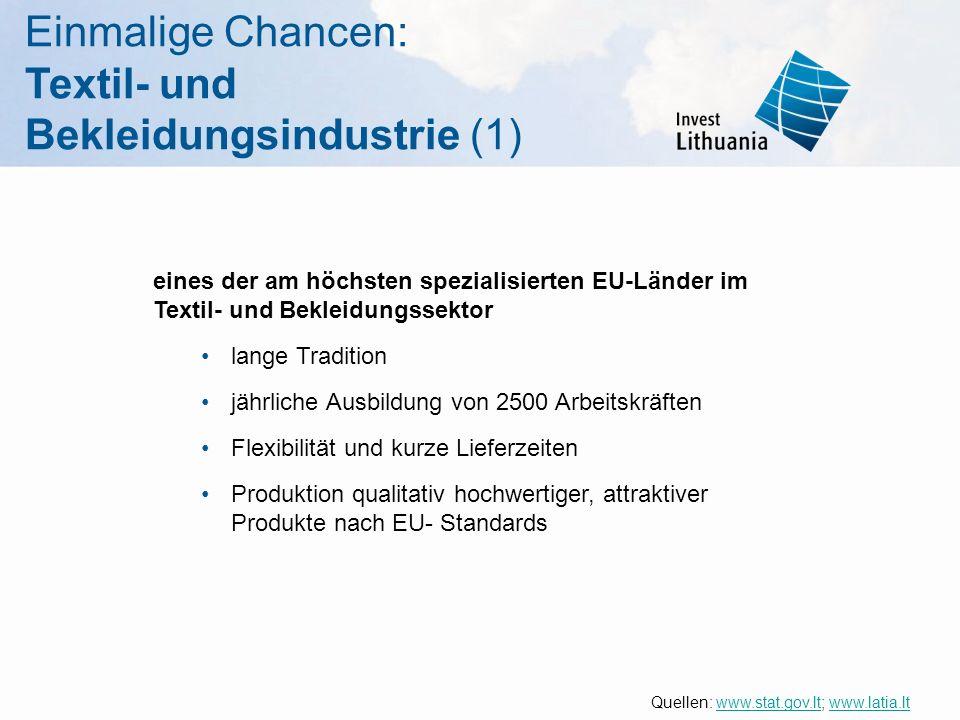 Einmalige Chancen: Textil- und Bekleidungsindustrie (1) eines der am höchsten spezialisierten EU-Länder im Textil- und Bekleidungssektor lange Traditi