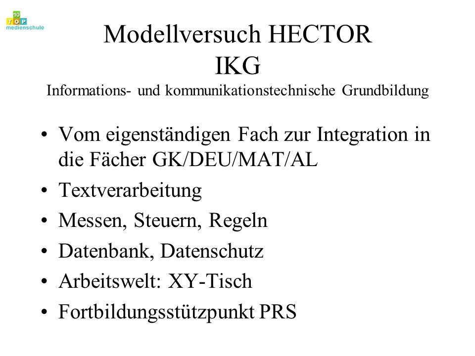 Modellversuch HECTOR IKG Informations- und kommunikationstechnische Grundbildung Vom eigenständigen Fach zur Integration in die Fächer GK/DEU/MAT/AL T