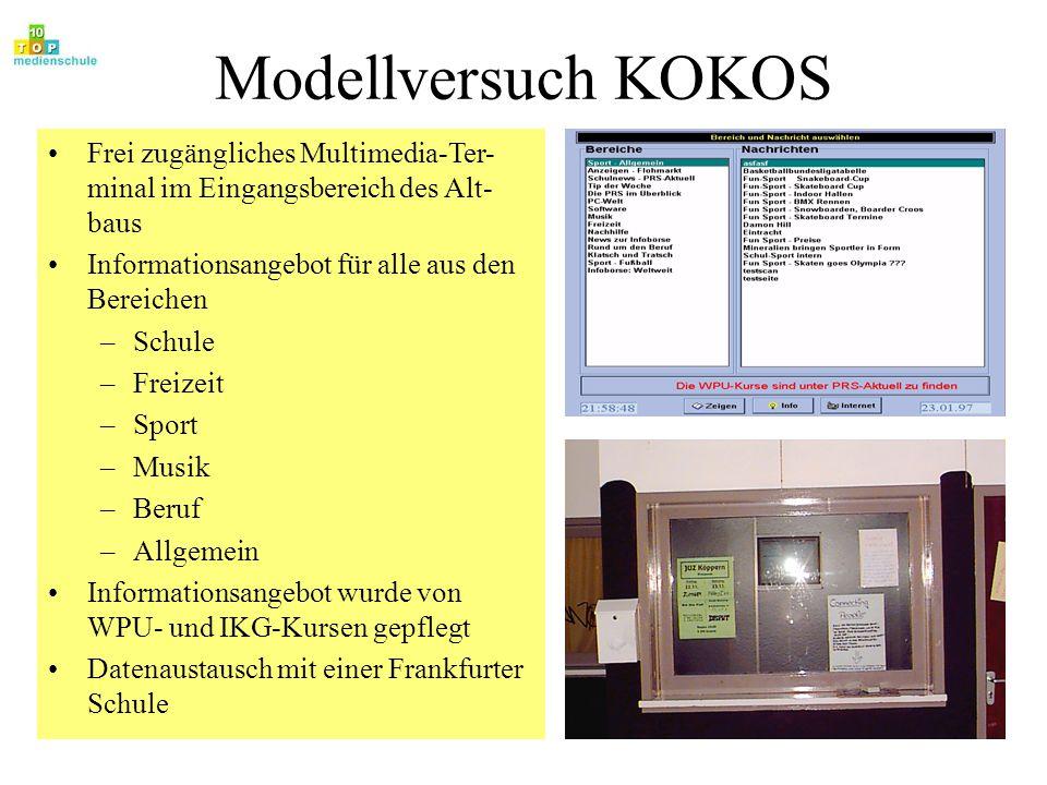 Modellversuch KOKOS Frei zugängliches Multimedia-Ter- minal im Eingangsbereich des Alt- baus Informationsangebot für alle aus den Bereichen –Schule –F