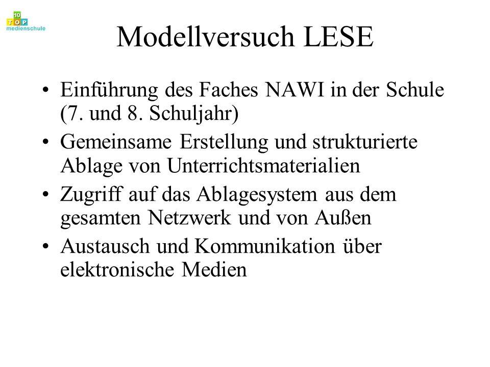 Modellversuch LESE Einführung des Faches NAWI in der Schule (7. und 8. Schuljahr) Gemeinsame Erstellung und strukturierte Ablage von Unterrichtsmateri