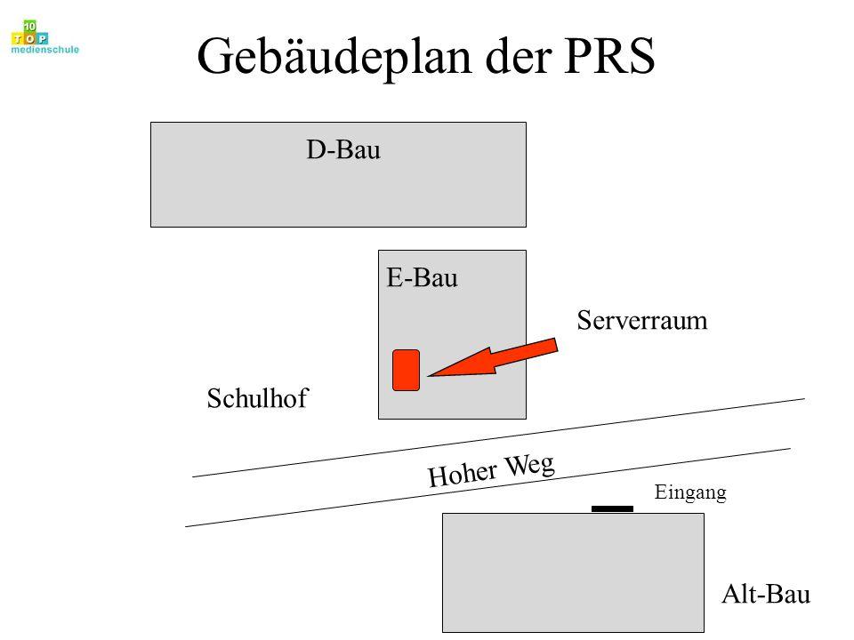 Hardware-Geschichte der PRS Erste Schritte mit Schneider CPC-Rechnern Einrichtung Informatikfachraum 1 mit HP-150-Computern Einrichtung Informatikfachraum 2 mit Euro-PC Vernetzung der Euro-PC-s mit einem einfachen Netzwerk Umrüstung Informatikfachraum 1 mit PC 286 und Anschluß an das vorhandene Netz (35000.- DM) Umrüstung Informatikfachraum 2 mit 386 DX-40 Umrüstung Informatikfachraum 1 mit 486 DX-40 und Aufbau eines lokalen Netzwerkes (32000.- DM) Aufbau eines lokalen Netzwerkes in der Verwaltung mit 10 Arbeitsstationen 1985 1988 1992 1994