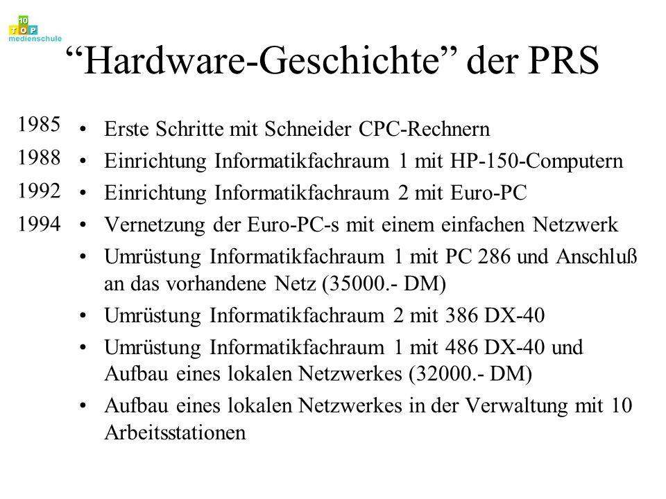 Hardware-Geschichte der PRS Umrüstung Informatikfachraum 2 auf DX4-100 Umrüstung Informatikfachraum 1 auf Pentium 120 Serveraufrüstung auf Pentium P120 und 5GigaByte Plattenkapazität Netzankopplung Fachbereich Physik Einrichtung Fachraum Fremdsprachen Erster Arbeitsplatz in einem Lehrerzimmer Zwei Arbeitsplätze in der Bibliothek mit Anbindung an das lokale Netzwerk Anbindung Fremdsprachenraum an das lokale Netzwerk 1995 1996 1997 1998