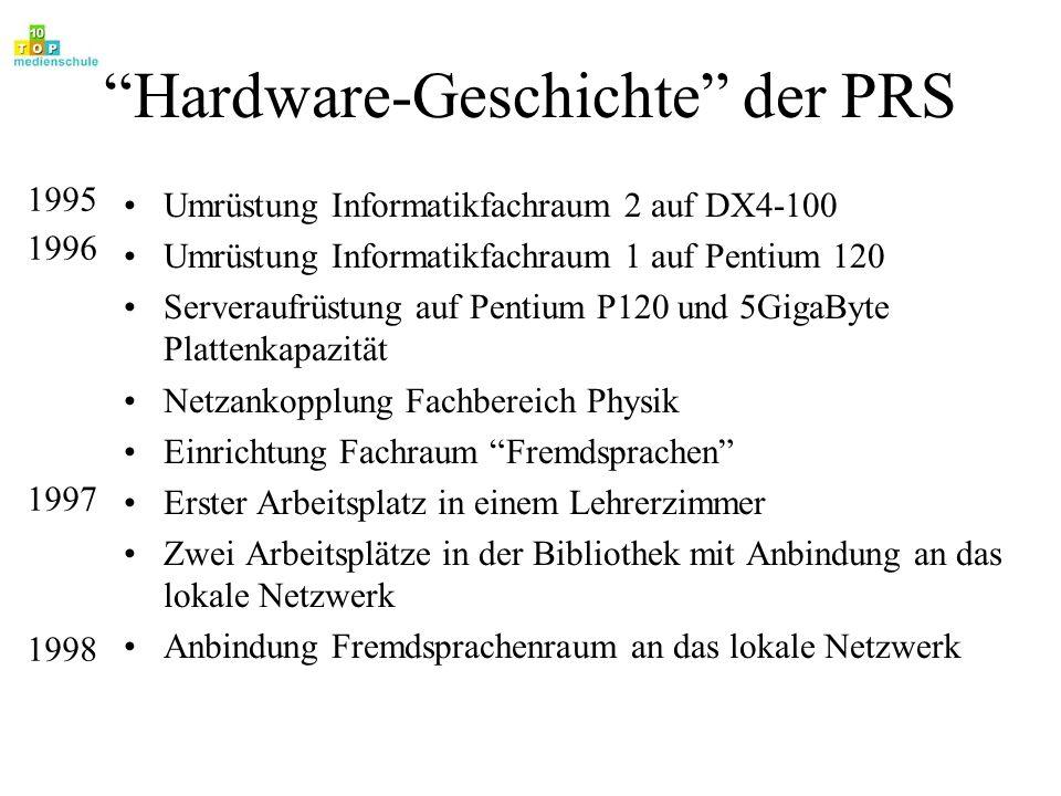 Hardware-Geschichte der PRS Umrüstung Informatikfachraum 2 auf DX4-100 Umrüstung Informatikfachraum 1 auf Pentium 120 Serveraufrüstung auf Pentium P12