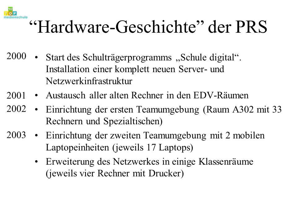 Hardware-Geschichte der PRS Start des Schulträgerprogramms Schule digital. Installation einer komplett neuen Server- und Netzwerkinfrastruktur Austaus