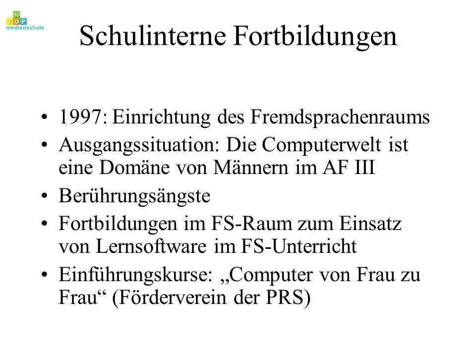 Schulinterne Fortbildungen 1997: Einrichtung des Fremdsprachenraums Ausgangssituation: Die Computerwelt ist eine Domäne von Männern im AF III Berührun