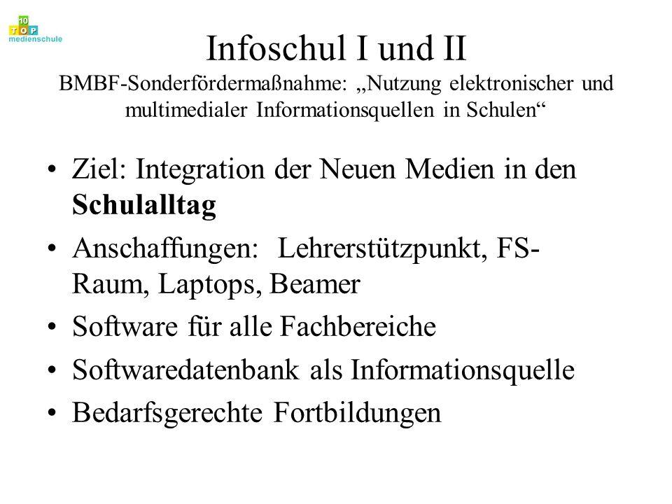 Infoschul I und II BMBF-Sonderfördermaßnahme: Nutzung elektronischer und multimedialer Informationsquellen in Schulen Ziel: Integration der Neuen Medi